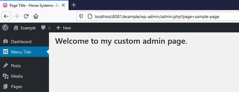 WordPress Custom Admin Page